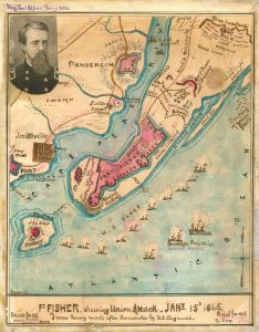 "Robert Knox Sweden, ""Union attack on Fort Fisher, 15 January 1865,"" from a survey conducted by the U.S. Army Corps of Engineers. To the Confederacy, Fort Fisher was critical in that last part of 1864. Wilmington was the last major seaport still in Confederate hands and played a key role in supplying Robert E. Lee's troops in Virginia."