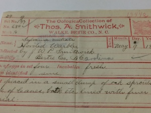 One of the Smithwick family's egg slips, Field Museum. This one is for the eggs of a hooded warbler.