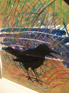 """""""Toxcic Crow,"""" 1983, by Seneca artist G. Peter Jamison, on exhibit at the Denver Art Museum, next to the Denver Public Library."""