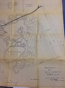 A map of a portion of Hatteras Island that would later become part of the Pea Island National Wildlife Refuge, 1934.