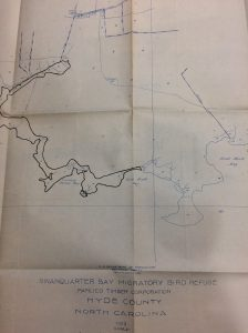 Pamlico Timber Co.'s map of a proposed wildlife refuge at Swan Quarter Bay, in Hyde County, N.C., ca. 1934.