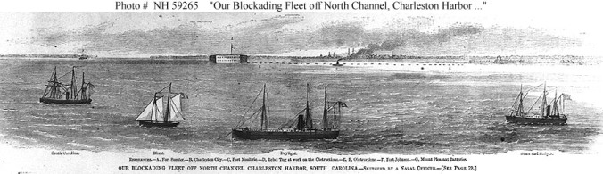 In 1862, Johnson and 3 companions escaped from Brunswick Co. by stealing one of their owner's boats and sailing to the U.S.S. Stars and Stripes, a screw steamer that was part of the Union's naval blockade of the Cape Fear River. In this image, of the blockading fleet at Charleston Harbor, the Stars and Stripes is the vessel on the far right.