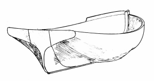 Drawing of the kunner Doodle, stern view, by Mike Alford