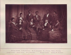 Early photo of the Fisk Jubilee Singers. First organized at in 1871, the group is still singing today.
