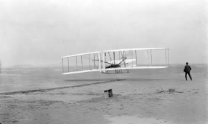 The Wright Brothers' first flight, Kill Devil Hills, N.C., December 17, 1903.