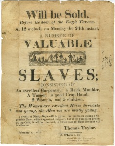 Broadside for a slave auction in Virginia, 1812.