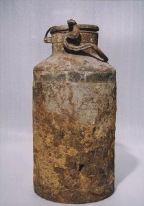 One of the metal milk containers that protected the Oyneg Shabes' secret archives.