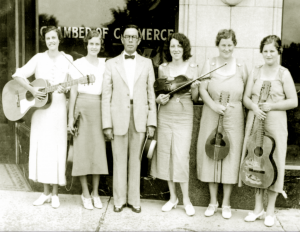 Bascom Lamar Lundsford with two Appalachian musical groups, the Lovingood sisters and the Greer sisters, ca. 1933.