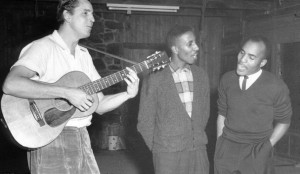 Guy Carawan, left, singing with SNCC activists Bernard Lafayette and James Bevel in 1960.