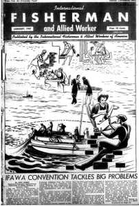 A 1947 issue of the IFAWA's monthly newspaper. The cover story stresses the importance of the seafood industry for both workers and consumers.