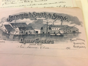 Letterhead from Jeremiah Smith & Sons, Oyster Growers, New Haven, Conn. The Whitney Library holds a fascinating collection of the company's papers.