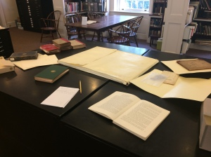 My research table at the Whitney Library, while you could still see the table.