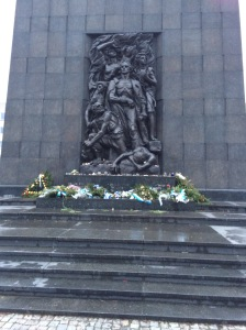 Warsaw Ghetto Heroes Monument, Warsaw, Poland. The monument is located at the spot where the first armed clash of the uprising occurred.
