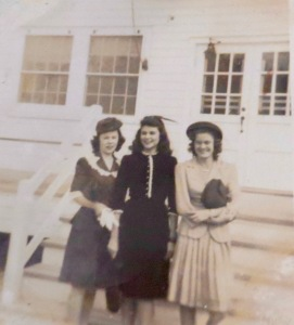 Mary Buckmaster Keitzman, center, and two friends in front of the USO building in Swansboro during WWII.