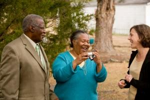 Barbara Garrity-Blake, right, with Primrose and Mary Jones in Adams Creek, N.C. in 2009. Primrose Jones was a cook on a menhaden boat.