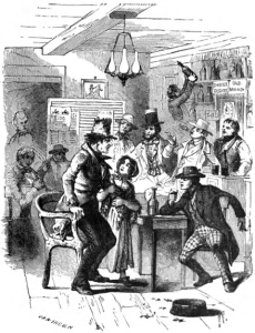 """Come Father, Won't You Come Home?"" an illustration from an 1882 edition of Timothy Shay Arthur's Ten Nights in a Bar-Room and What I Saw There. Arthur's tale was the second most popular novel of the Victorian Era, second only to Harriet Beecher Stowe's Uncle Tom's Cabin."