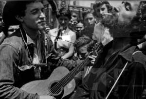 Ramblin' Jack Elliott, left, and Woody Guthrie, Washington Square Park, New York City, 1954.