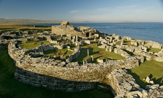 The Broch of Gurness, Mainland Orkney, Scotland, next to Eynhallow Sound.