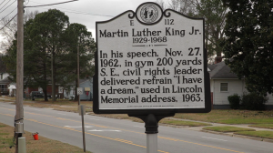 "To listen to audiotape clips of Dr. King's speech in Rocky Mount, read the transcript of the speech and much more, go to Dr. Miller's ""Origin of the Dream"" web site. You can find a link to the web site here. Photo courtesy, Dr. Jason Miller"