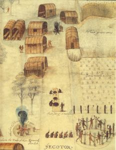 Watercolor drawing of the village of Secotan prepared by John White from observations that he made in 1585-86. Secotan was located near present day Bath, N.C. Aquascogoc was located at or near the site of modern-day Belhaven, and Dasemunkepuec was located on Roanoke Sound, in the vicinity of where Mann's Harbor is today. John White's drawing courtesy of the Trustees of the British Museum