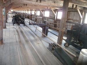Interior view of the portion of the Plymouth Cordage Co.'s ropewalk that has been preserved at Mystic Seaport. Courtesy, Mystic Seaport, Mystic, Conn.