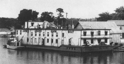 The James Adams Floating Theatre. From the NC Historic Site's Historic Bath web page.