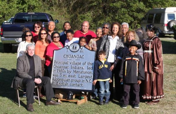 This group of Choanoac Indians gathered for the dedication of the Chooanoac Indian historical marker in Harrellsville, N.C. in October 2011.