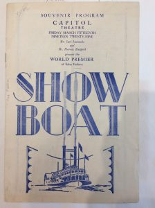 Souvenir program from the world premier of the first Showboat movie in 1929. Courtesy, Beinecke Library, Yale University