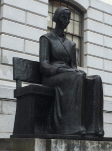 Across the street from the Boston Athenaeum, in front of the Massachusetts State House, you can find this statue of Mary Dyer, a Quaker dissenter hung on the Boston Commons in 1660 for repeatedly breaking a Puritan law banning Quakers from the colony.
