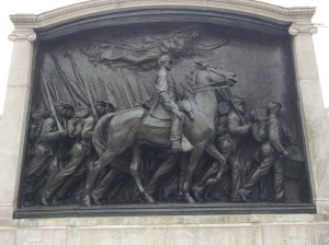 A remarkable collection of historic sites and public art can be found within a few hundred yards of the Boston Athenaeum. This famous bronze relief by Augustus Saint-Gaudens is a memorial to Col. Robert Gould Shaw and the African American soldiers of the 54th Mass. Volunteer Infantry. It depicts them marching down Beacon St. on May 28, 1863.
