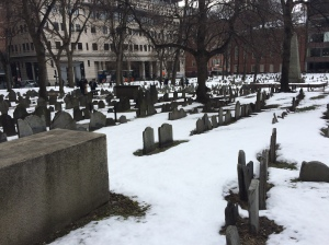 Located behind the Boston Athenaeum, the Granary Burial Grounds is the final resting place for Paul Revere, Samuel Adams, Crispus Attucks and other early American revolutionaries. Photo by David Cecelski