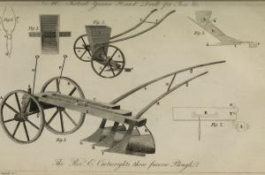 The Journal of Natural Philosophy, Chemistry and the Arts often focused on very practical applications of science and technology, such as this furrow plough. From an 1804 edition. Courtesy, Natural History Museum Library, London.