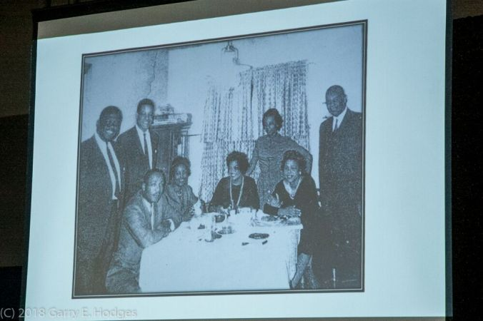Dr. King at dinner at the home of the Rev. George Dudley and his family in Rocky Mount, Nov. 27, 1962. Original photograph, courtesy of the Rocky Mount Telegram. Photograph of projected image is by Gary E. Hodges. Courtesy, City of Rocky Mount