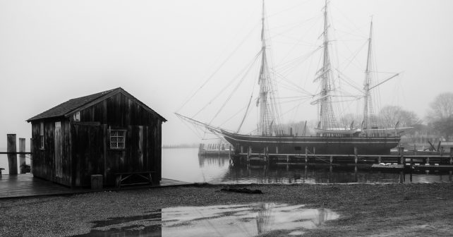 A foggy morning at Mystic Seaport. Courtesy, Hunt's Education