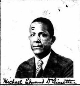 Dr. Michael E. Dubisette. From his 1929 application for U.S. citizenship. Image from Lisa Y. Henderson's blog Black Wide-Awake.