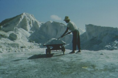A salt raker in the 1960s. Courtesy, Turks and Caicos National Museum, Grand Turk