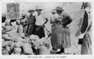 Women bagging salt in the Turks Islands, early 20th century. Courtesy, Turks and Caicos National Museum, Grand Turk