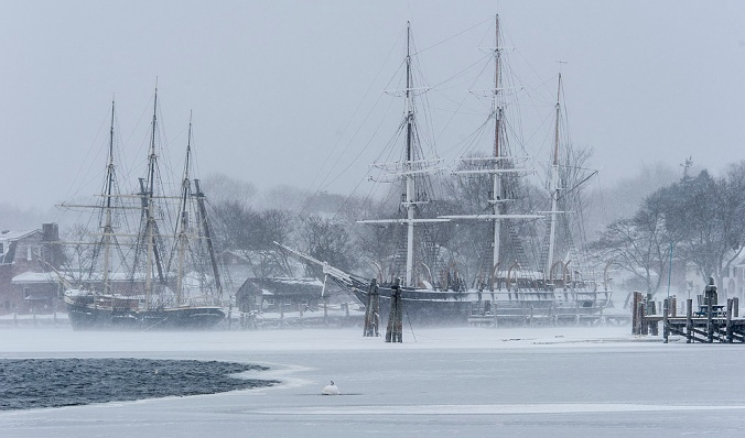 Joseph Conrad and Charles W. Morgan at Mystic Seaport, during the big Feb. 2015 freeze. Courtesy, Australian Sea Heritage online