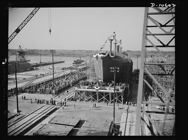 Launch of the liberty ship USS Zebulon B. Vance on Dec. 6, 1941, by the North Carolina Shipbuilding Company, Wilmington, N.C. Courtesy, Library of Congress Photographs and Prints Division