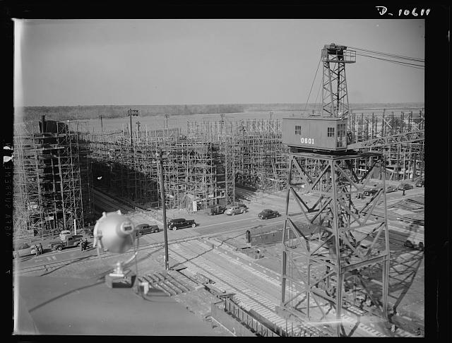 "The North Carolina Shipbuilding Company's yard under construction in early 1941. The photographer's notation for this print reads: ""One year ago this bustling shipyard was a river bog."" Courtesy, Library of Congress Photograph and Prints Division"