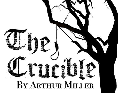 "Logo for Arthur Miller's classic play, ""The Crucible,"" which he wrote in 1953, twelve years after his visit to Wilmington, N.C."