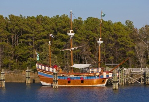 Replica of Elizabeth II at Ice Plant Island, Manteo, N.C.