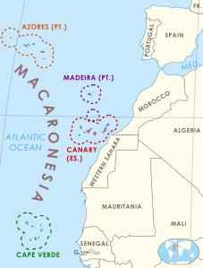 Macaronesia, the Iberian peninsula and northwestern Africa.