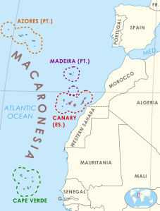 Macaronesia, the Iberian peninsula and northwestern Africa.