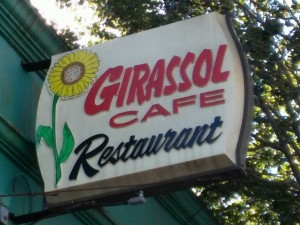 "Sign for the Girassol Cafe on Acushnet Ave., New Bedford. Girassol is the Portuguese word for ""sunflower."""