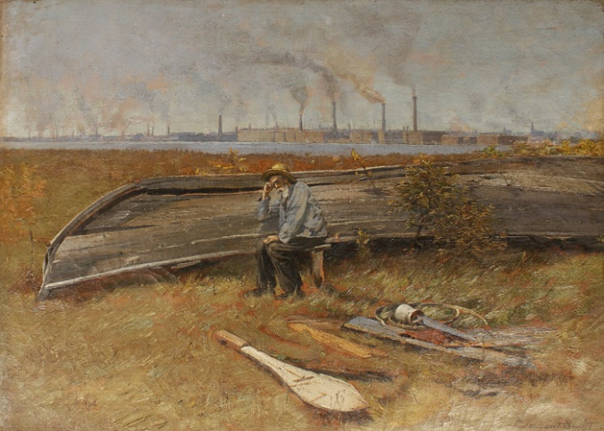 """""""Smoking Chimneys,"""" or """"The End of Whaling,"""" by Clement Nye Swift (1846-1918). The old whaler is sitting next to a derelict whaleboat, apparently in Fairhaven. Across the Acushnet River, we can see New Bedford's textile mills. The painting was a recent gift to the New Bedford Whaling Museum."""