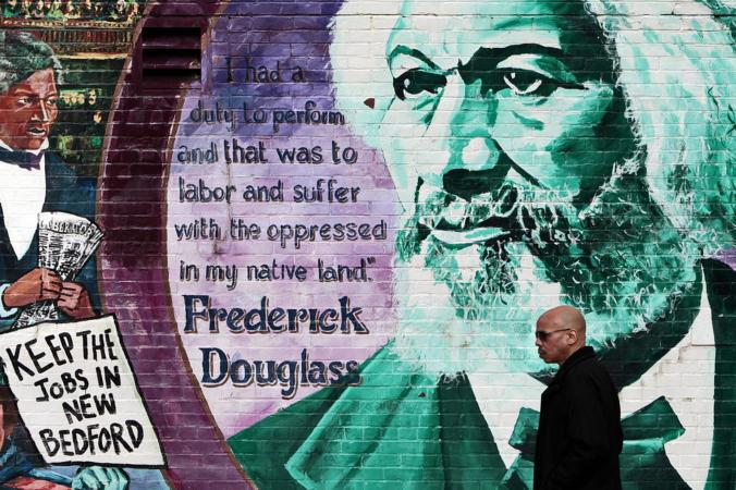 Detail of Frederick Douglass mural, New Bedford, Mass. Courtesy, Providence Journal