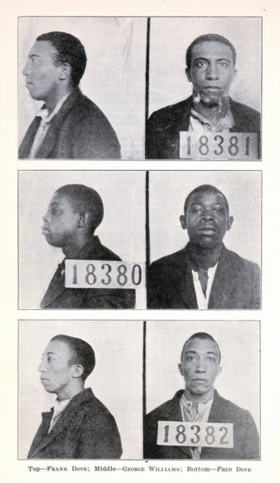 "Frank Dove, George Williams and Fred Dove after their arrest in August 1922. From ""Capital Punishment in North Carolina,"" Special Bulletin from the North Carolina State Board of Charities and Public Welfare, Raleigh, N.C. (1929). Copy courtesy of the North Carolina Collection, Wilson Library, University of North Carolina at Chapel Hill"