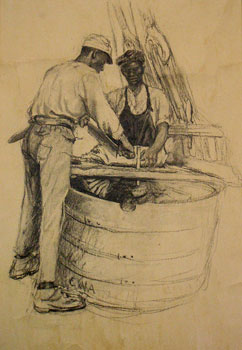 The New Bedford Whaling Museum's art collection includes a series of charcoal drawings that Clifford Ashley made aboard a whaling vessel in 1905. In this drawing, two sailors are mincing whale blubber prior to placing it in the try-pots for boiling and extracting the oil. Courtesy, Trustees of the New Bedford Free Public Library.