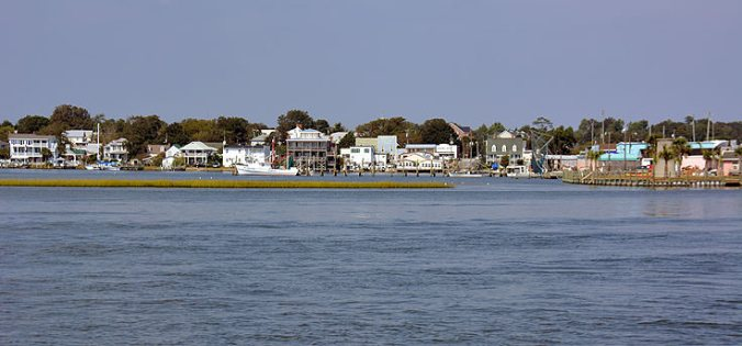 White Oak River view of downtown Swansboro, N.C.